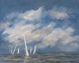 Regatta of clouds and boats by Marco Titucci, Painting, Acrylic on canvas